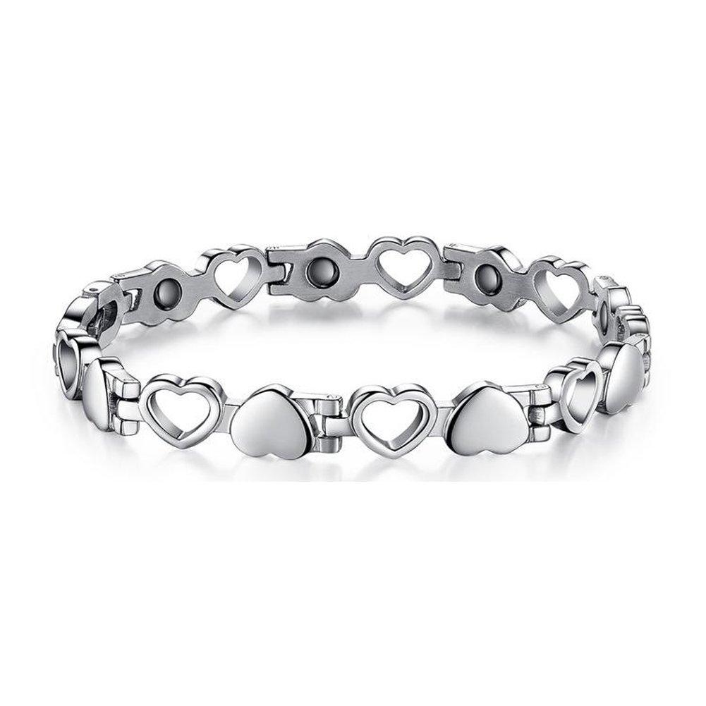 Kintao Titanium Steel Magnetic Therapy Bracelet Heart Hollow Hematite Balance Wristband for Women
