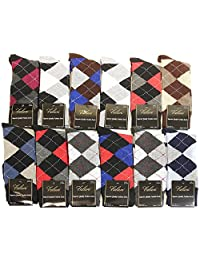 12 Pairs Assorted Colors Argyle Men Dress Socks Size 10-13 Fit Shoes Size 6-12