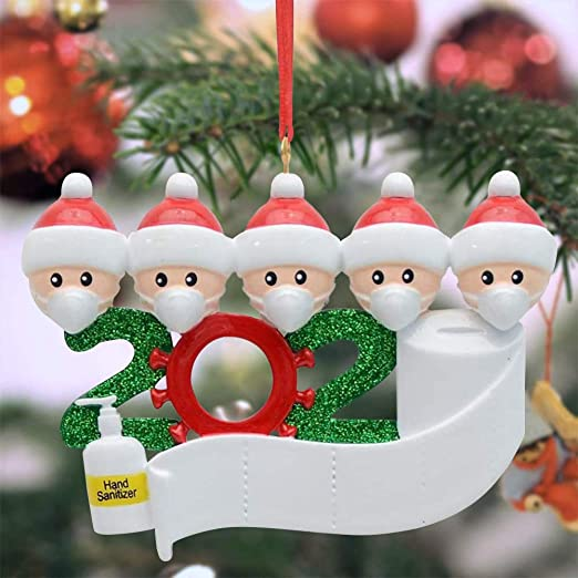 Christmas 2020 Hanging Ornaments Covid Themed Personalized Christmas Ornaments With Face Mask Hand Sanitizer And Toilet Paper Quarantine Survivor Family Of 5 Special Keepsake Xmas Decorations Gifts Family Of 5 Amazon Ca Home