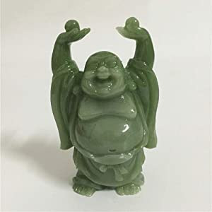 QWERWEFR Chinese Happy Maitreya Buddha Statue Sculpture Man-Made Jade Stone Home Garden Decoration Lucky Laughing Buddha Statues Figurine