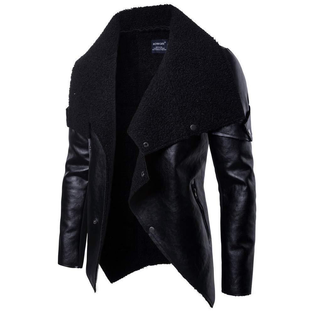 Shuwe Mens Autumn Winter New Warm Leather Jacket Personality Collar Fashion Coat