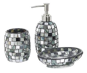 3 Pce Silber Muschel Mosaik Fliesen Badezimmer Zubehör Set