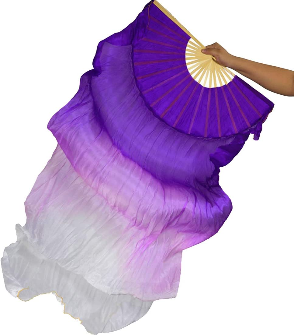 Calcifer 2 Pcs 180 cm//70.8 inches Belly Dance Dancing Silk Bamboo Fans Art Colorful
