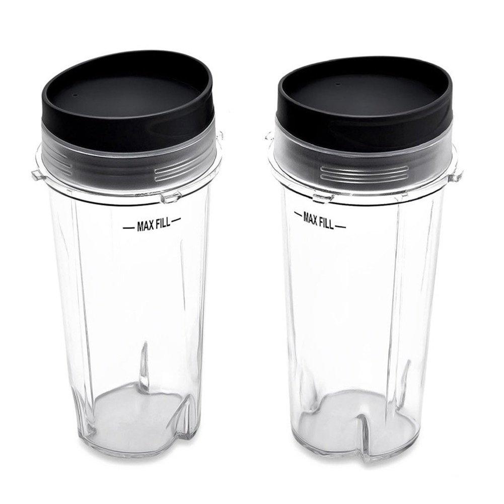 2 Cups with 2 Sip Lids for Nutri Ninja BL770 BL780 BL660 Professional Blender 16 Oz (Pack of 2)