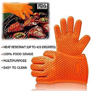 Q-glove silicona guantes para horno resistente al calor guante | color: naranja | 2pcs