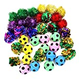 36 Packs Assorted Color Cat Ball Toy Set - Crinkle Balls/Sparkle Balls/Sponge Soccer Balls