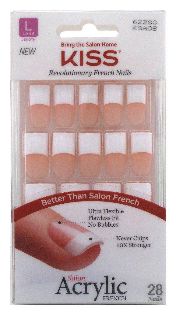 Amazon.com : Kiss Salon Acrylic French Kit Back Talk Long (2 Pack ...