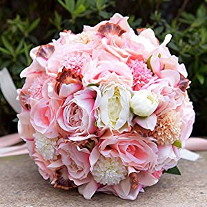 Handmade Wedding Bouquet Romantic Pink Rose Throw Bridal Bouquet Bridesmaid Bouquet Bride Holding Flowers of Bride 30