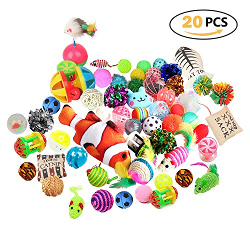 Highland Farms Select Cat Toys Variety Pack for Kitty 20 Pieces by Highland Farms Select