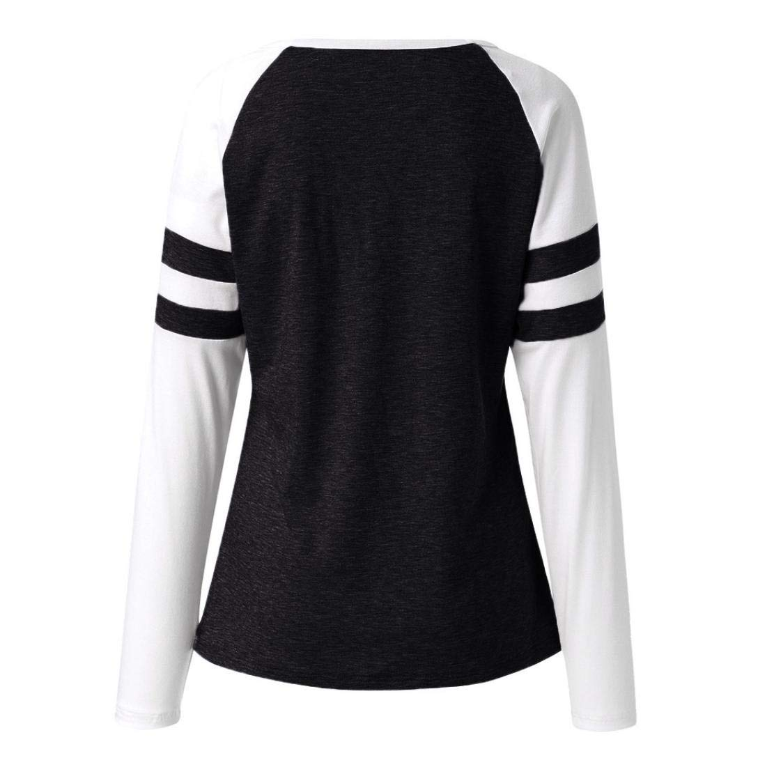 Amazon.com: T-Shirt for Women Color Block Long Sleeve Blouses Casual Fashion Cat Printed Round Neck Tunic Tops: Clothing