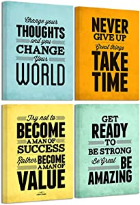 """ArtBones Framed Wall Art Albert Einstein Quotes Motivational Inspirational Poster Canvas Prints Gallery Wrap Ready to Hang Home Office Wall Decor 12""""x16""""x4 Pieces"""