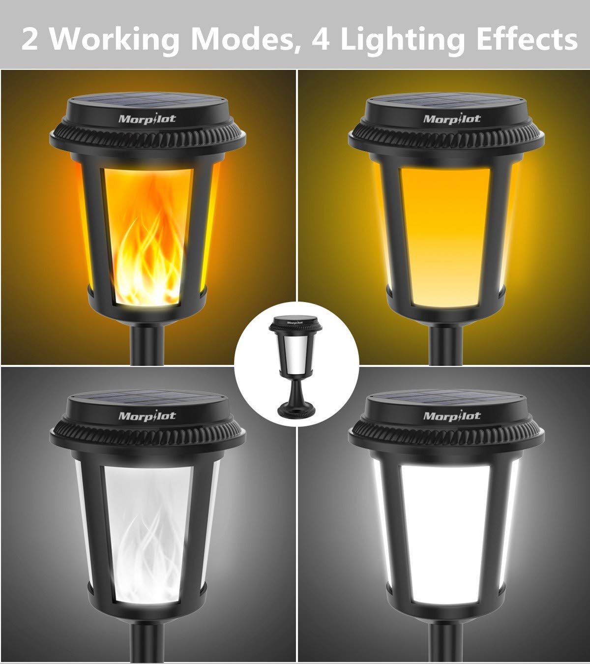 Keenstone 2 in 1 Solar Flame Lights/Flickering Flame Lights, 4 Lighting Effects/IP65 Waterproof/Dusk to Dawn Auto on/Off Lighting, Outdoor Solar Path Light for Christmas Landscape Decoration (1pc)
