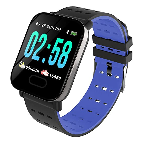 OPAKY Reloj Inteligente Deportivo para Mujer Hombre Compatible con iOS y Android Smart Watch Hombres Mujeres Heart Rate Fitness Watch Pantalla a Color ...