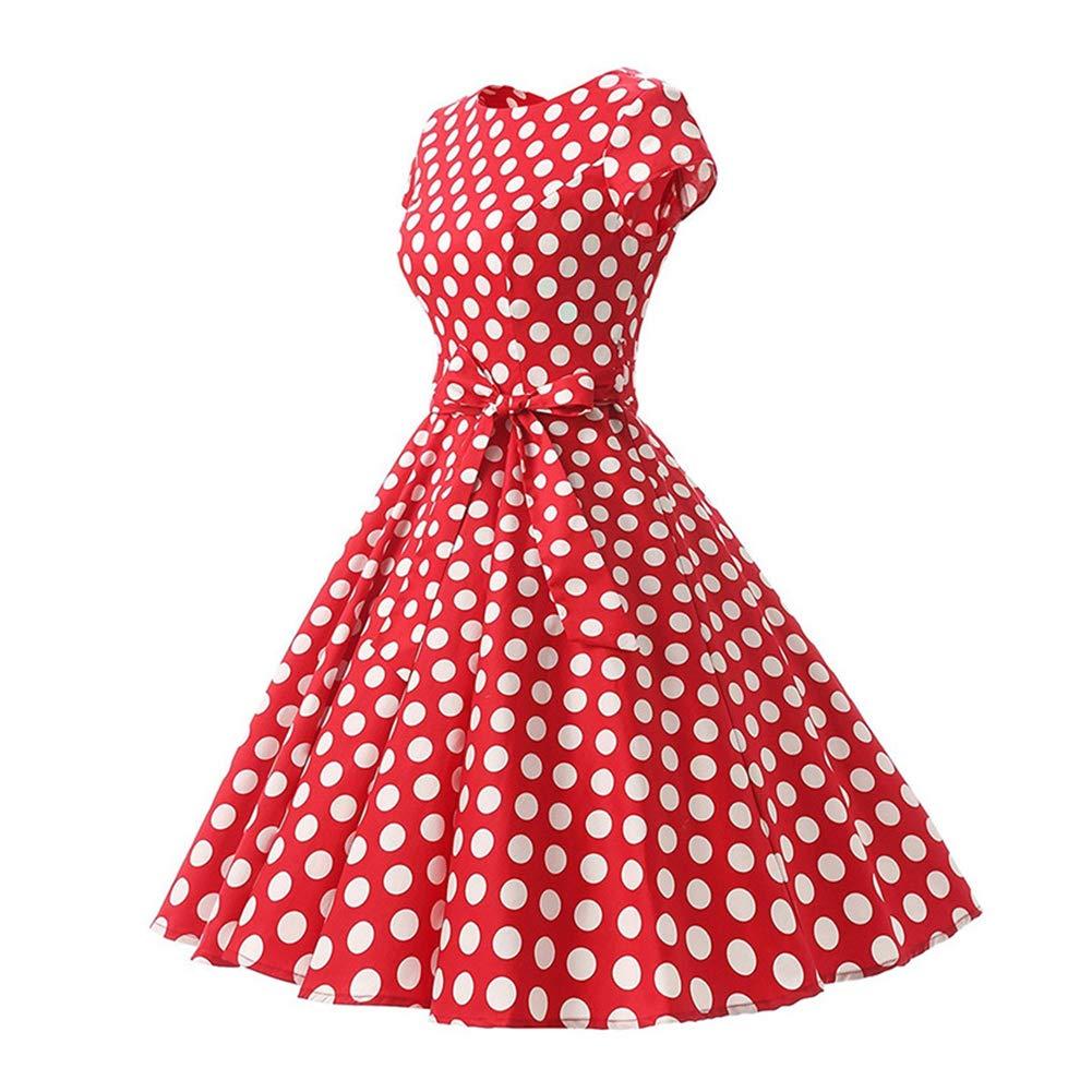 Womens 1950s Vintage Cap Sleeve Polka Dot Rockabilly Cocktail Swing Dresses C70