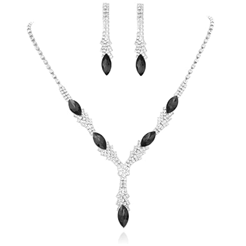 08fc4543fdda9 SP Sophia Collection Fancy Fashion Statement Women's Marquise Y Drop  Necklace and Stud Post Dangle Earrings Set