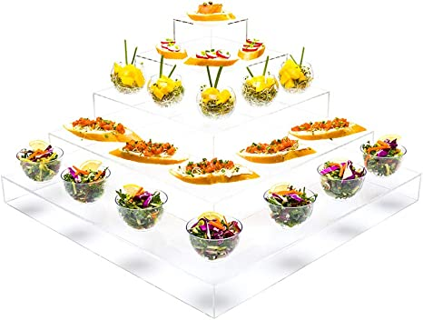 Amazon Com Clear Tek Clear Acrylic Buffet Display Stand 5 Tier Pyramid 19 3 4 X 19 3 4 X 9 3 4 1 Count Box Restaurantware Kitchen Dining