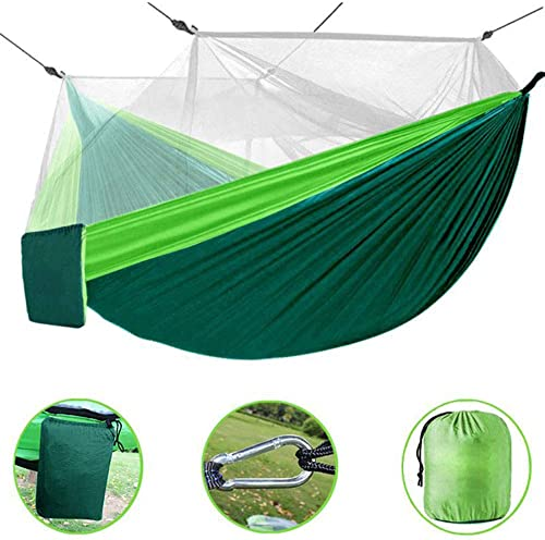 Bcway Camping Hammock, Double Lightweight Portable Nylon Parachute Hammocks with Mosquito Net, 2 Tree Ropes, Carabiners for Outdoor Backpacking Camping Hiking Travel Park Garden Backyard Green