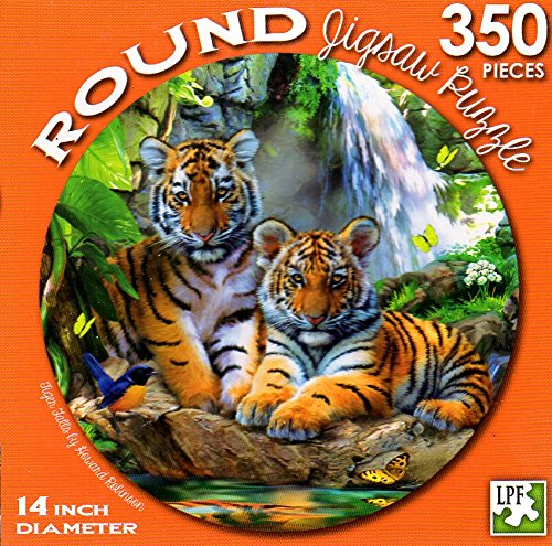 Tiger Falls by Howard Robinson - 350 Piece Round Jigsaw Puzzle