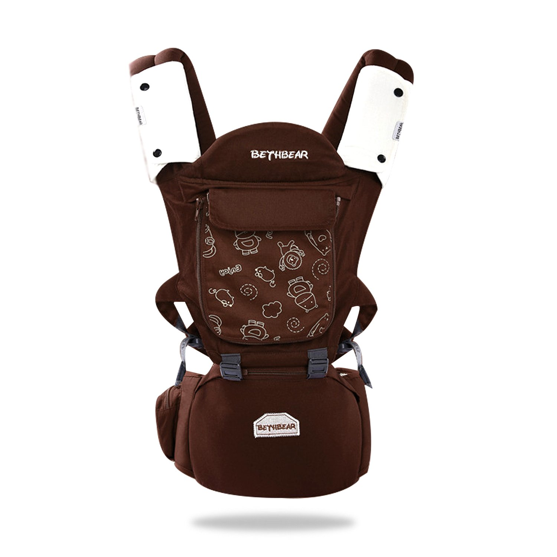SONARIN 3-en-1 porte-bébé multifonction Premium avec siège de hanche détachable,soutien à maillons respirant, ergonomique, 100% coton, tabouret gonflable, sûr et confortable, adapté à la croissance de votre enfant, cadeau idéal(Marron)