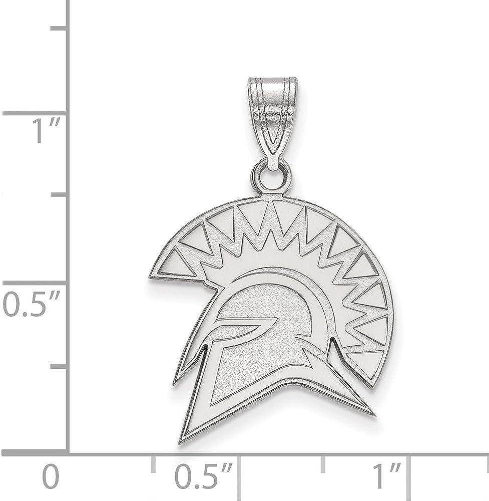 925 Sterling Silver Rhodium-plated Laser-cut University of California Berkeley Heart Pendant