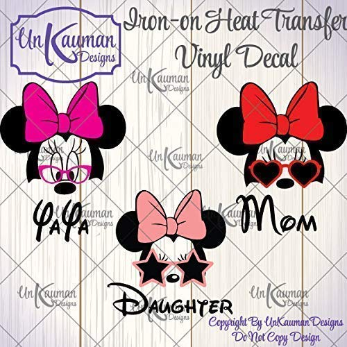 DIY Personalized Minnie Grandma, Mom, or Daughter Iron On Vinyl Decal for Clothing]()