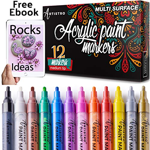 Paint Pens for Rock Painting, Ceramic, Porcelain, Glass, Wood, Fabric, Canvas. Set of 12 Acrylic Paint Markers Medium Tip -