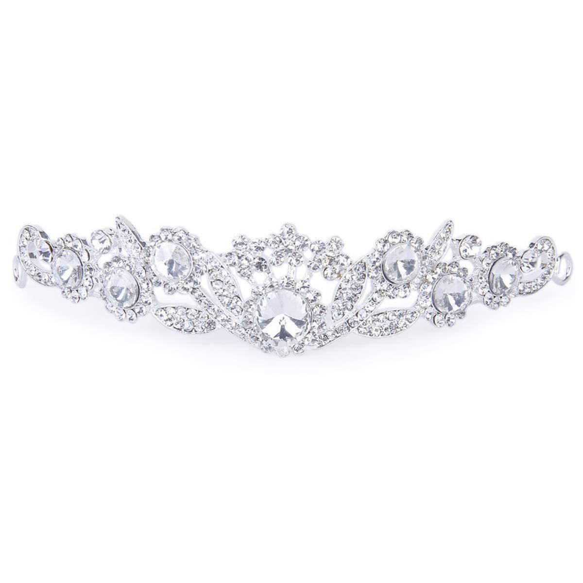 Tinksky Wedding Bridal Crystal Rhinestone Hair Barrettes Hairband Hair Loop (Sliver)