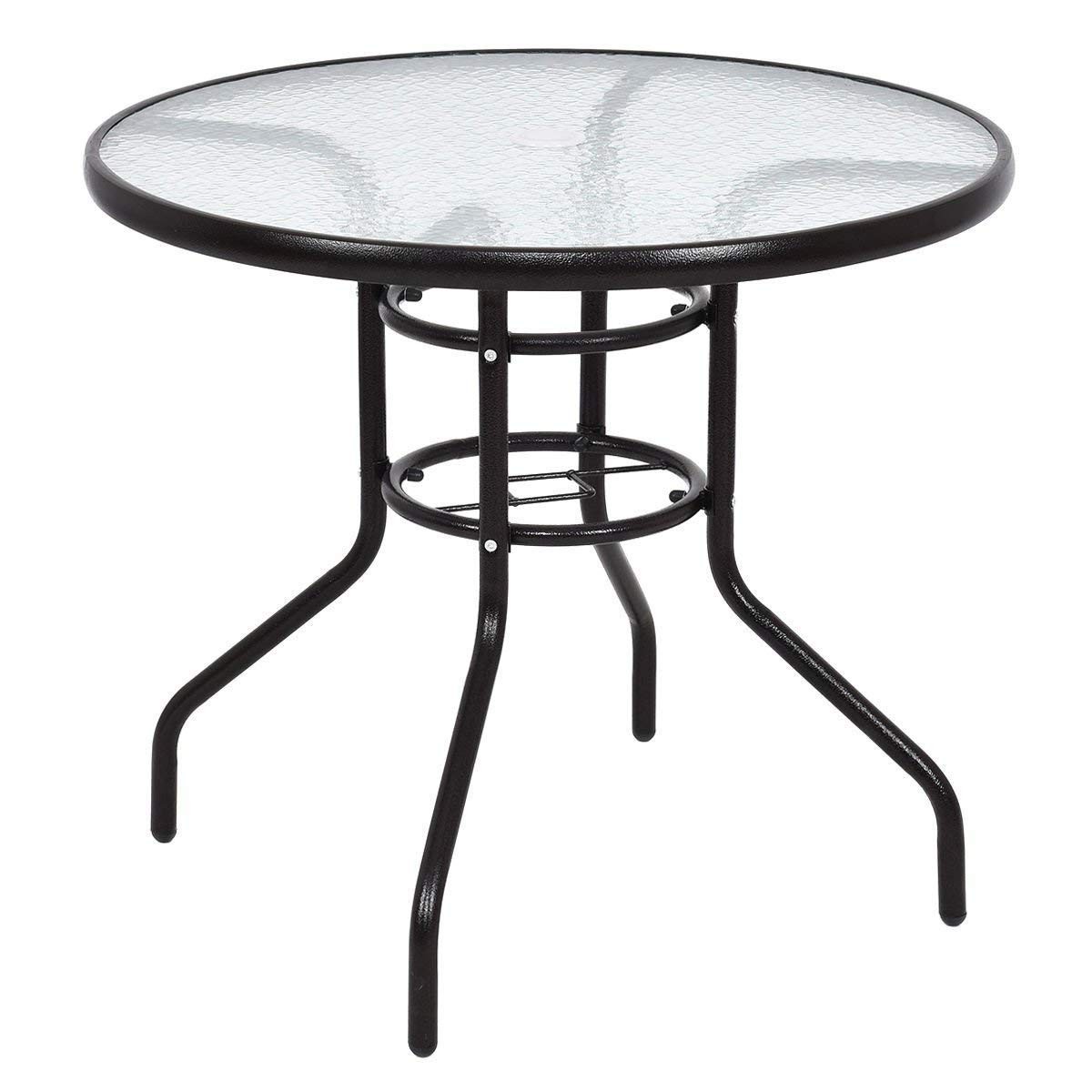 STS SUPPLIES LTD Low Circular Coffee Table Garden Outdoor Room Patio Glass Top Breakfast Metal Table & eBook AllTim3Shopping.