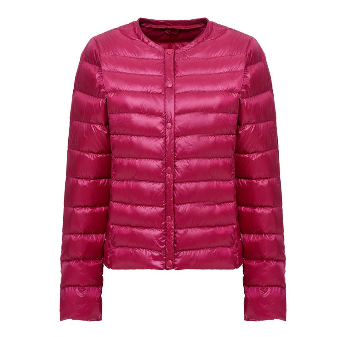 Dark pink Red BiBOONES Spring and Autumn White Duck Down Women's Collarless Ultralight Down Jacket