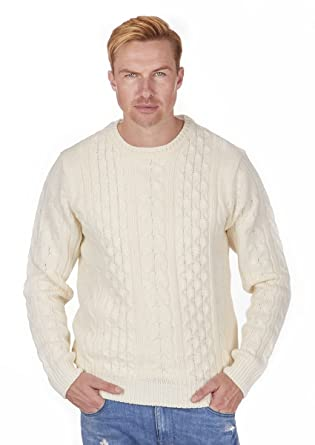 8fd5bb7ac82d6 Men s Classic Chunky Cable Knit Crew Neck Jumper Sweater Pullover Winter  NEW  Amazon.co.uk  Clothing