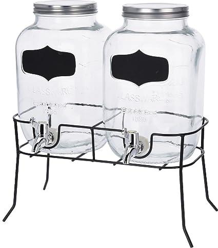 Juego de dispensadores de bebidas; 2 jarras de 4 litros con grifo y armazón;