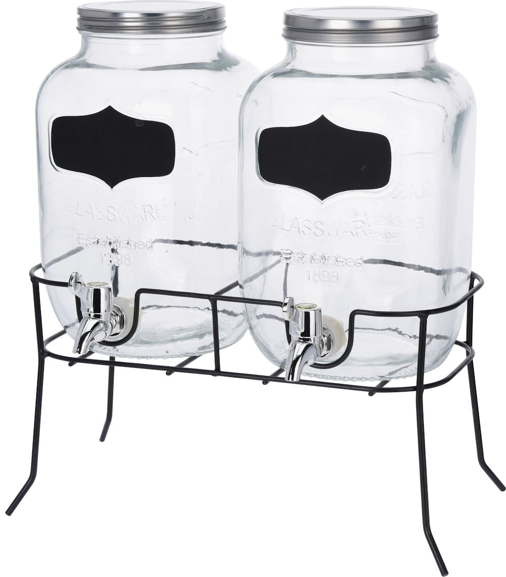 Getränke Spender Set   2X 4l Glas Mit Zapfhahn Und Gestell   Saftspender  Dispenser Wasserspender Product
