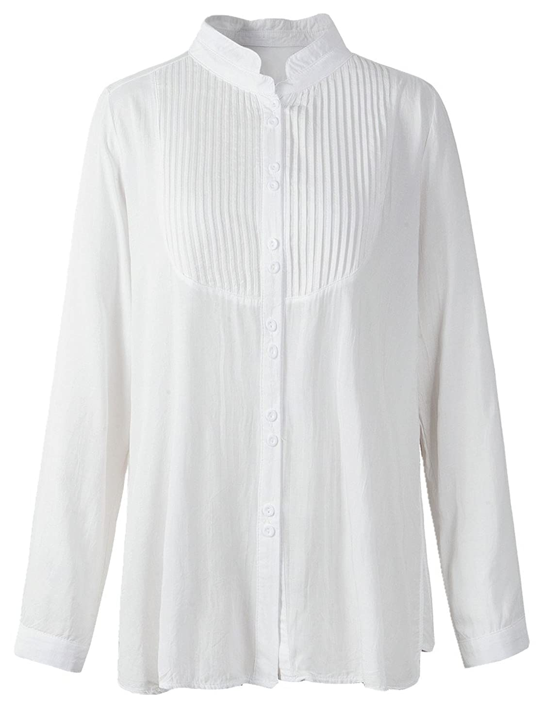 Blouse Pleated Button Down Shirt Long sleeves Top $14.99 AT vintagedancer.com