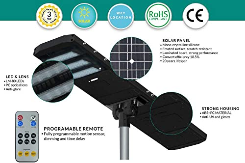 LED Solar Area Street Light with Dusk to Dawn and Motion Sensor and Remote Control – 120 Watt 18,000 Lumens – Brightest Solar LED Security Light on Amazon – Includes Remote – Commercial Grade