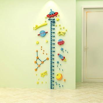 Raumschiff Cartoon Universum 3D Kristall Acryl Kinder Wand Höhe Diagramm  Wandtattoo Messlatte Wandaufkleber Kinder Wachstum