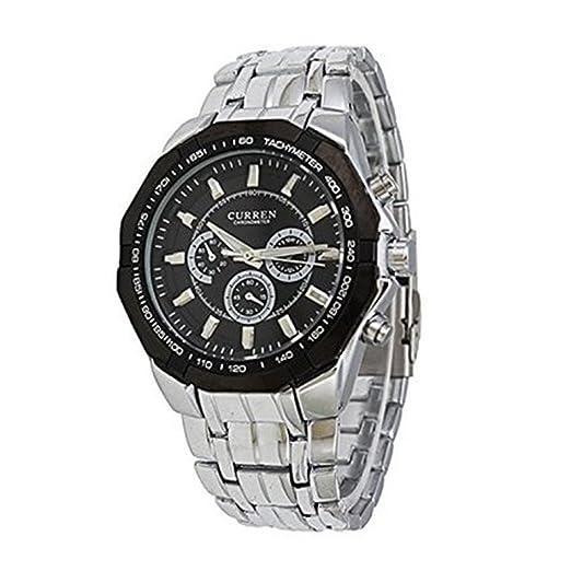 2015 original Curren marca hombres deportes relojes hombres militares muñeca relojes Casual hombres de acero completo reloj: Amazon.es: Relojes
