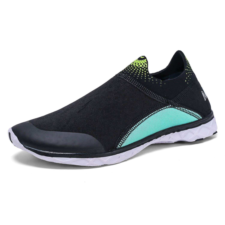 AMAWEI Boys Girls Water Shoes Quick Dry Lightweight Breathable Sneaker Slip on Aqua Swim Shoes Pool Beach Athletic Sandals(Little Kids/Big Kids) (4 M US Big Kid, Black/Lake Blue)