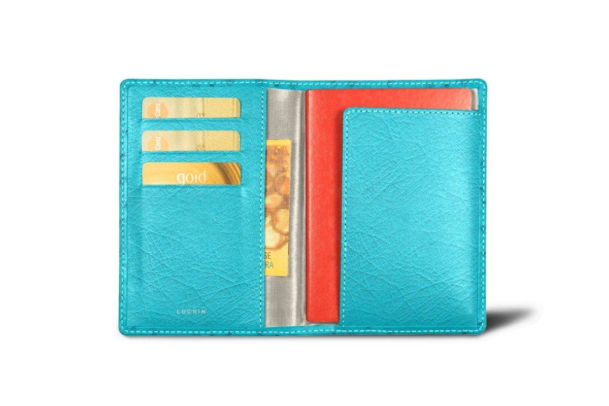 Lucrin - Passport and Loyalty Card Holder - Turquoise - Real Ostrich Leather by Lucrin
