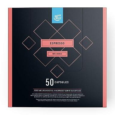 Marca Amazon - Happy Belly Espresso Café UTZ molido de tueste natural en cápsulas (compostables) compatibles con Nespresso, 50 cápsulas
