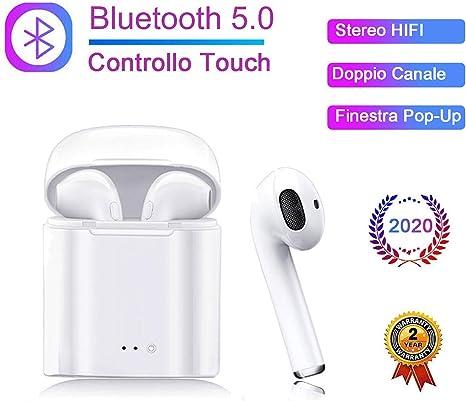 Cuffie Wireless 5.0 3D Stereo Sound Noise Isolation con Microfono,TWS,IPX5 Impermeabile,Elegante e Facile Portatile Auricolari Bluetooth Senza Fili