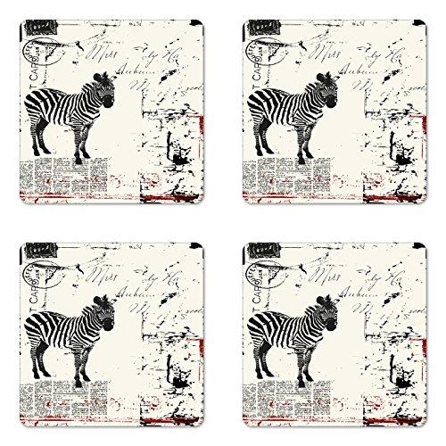 (Lunarable Grunge Coaster Set of 4, Modern Textured Safari Animal Zebra on Retro Typographic Background Print, Square Hardboard Gloss Coasters for Drinks, Black Cream)