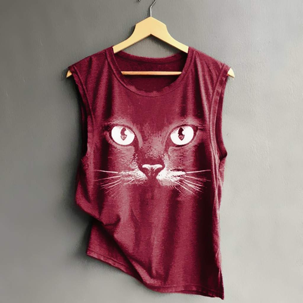 LISTHA Summer Tank Tees Women Sleeveless T Shirt Casual Print Loose Soft Tops