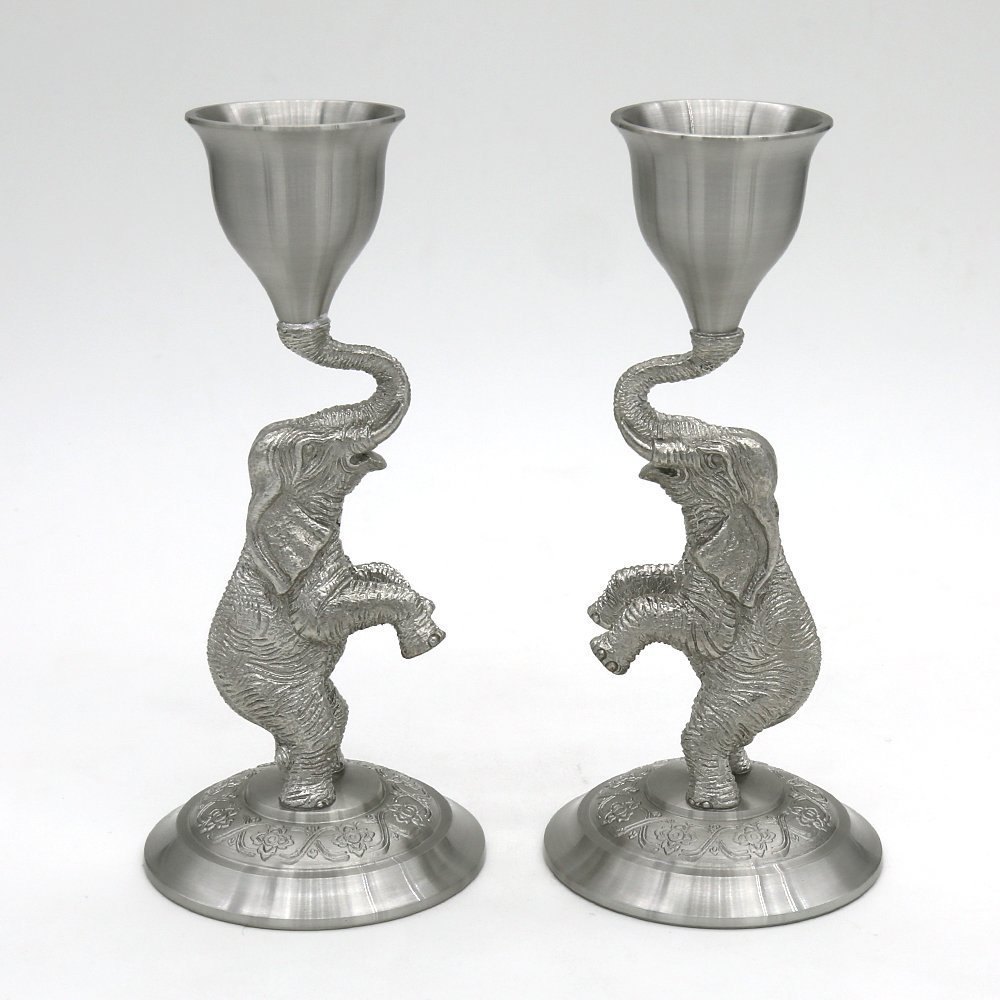 Oriental Pewter - Pewter Candle Holder, Set of 2, Hand Carved Pure Tin 97% Lead-Free Handmade in Thailand