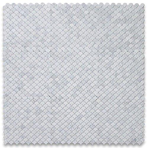Carrara White Italian Carrera Marble Medium Fan Shaped