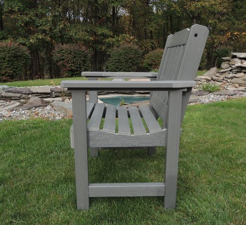 Highwood AD-CHGL1-CGE Lehigh Garden Chair, Coastal Teak - Proudly and 100% made in the USA from our own unique synthetic wood in an environmentally-conscious facility Adorn the chair with your favorite outdoor pillow or seasonal accouterments The garden chair has been load-tested and has a 500 pound weight capacity - patio-furniture, patio-chairs, patio - 61NekkE5HWL -