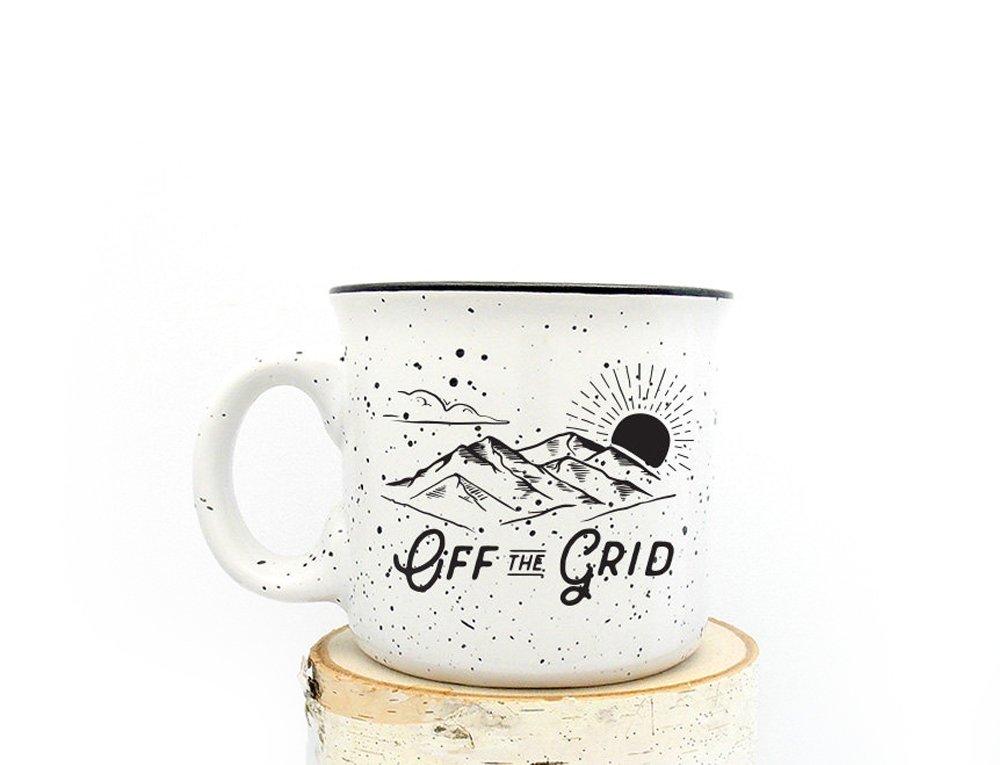 Camper Mug - Off the Grid - Speckled Color Mug - Campfire Collection - Screen Printed Mug