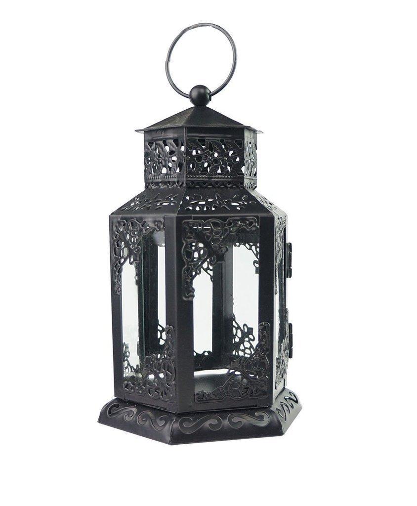 Decorative Mini Black Metal & Glass Candle Holder Lantern