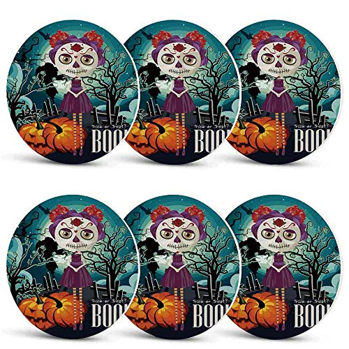 Halloween Unique Coasters,Cartoon Girl with Sugar Skull Makeup Retro Seasonal Artwork Swirled Trees Boo Decorative for Coffee Shop & BarSet of -