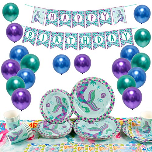 Wishful Mermaid Party Supplies Decorations - 84 Pieces Little Mermaid Birthday Party Decorations Serve 16|Mermaid Party Tablecloth, Cups, Napkins, Plates, Banner, Balloons for Girls Mermaid Party Favors/Under The Sea Party