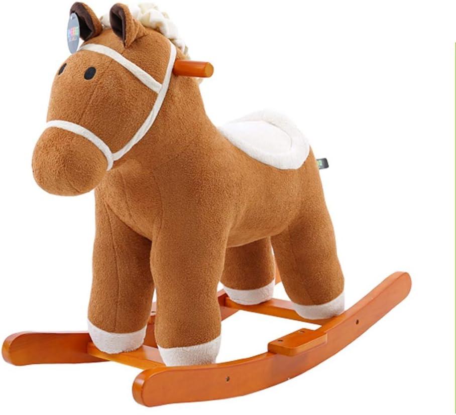 Caballo mecedora LINGZHIGAN Música Troyano Niños Rocking Horse Dual-Uso Rocking Cradles Juguetes para bebés Madera Maciza Baby Rocking Chair Cumpleaños Regalo de cumpleaños
